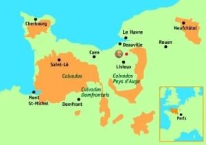 איזורי הגידול העיקריים של הקלבדוס